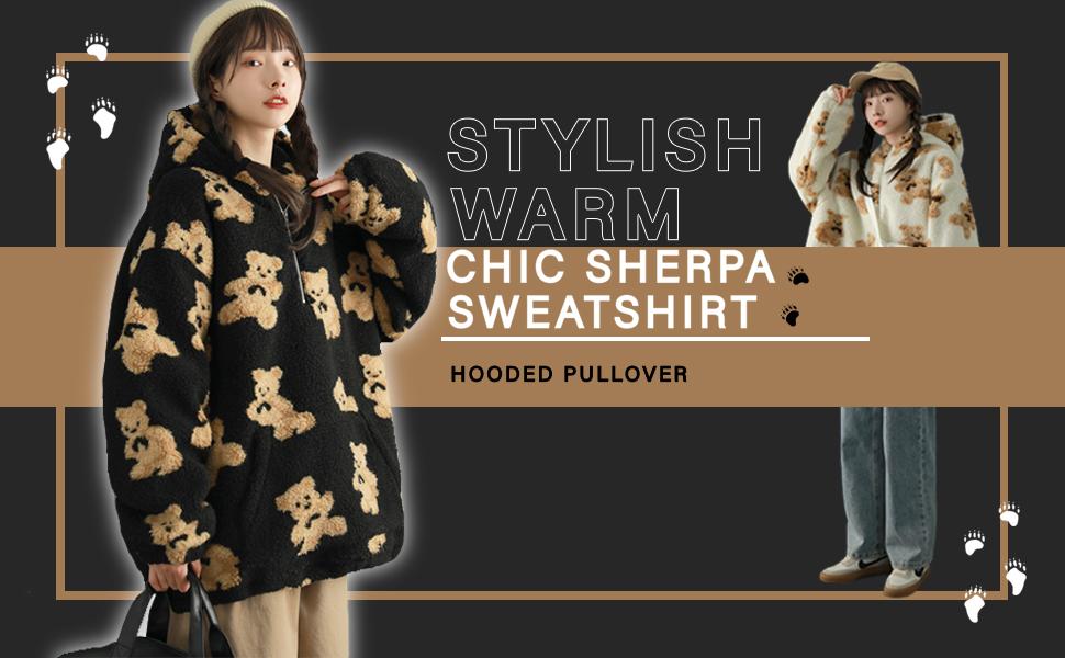 Women's Cozy Sherpa Sweatshirt Fleece Pullover