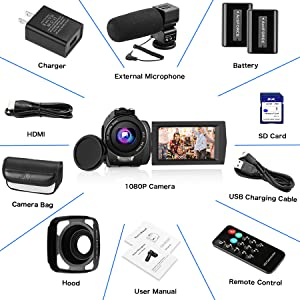 package  Video Camera Camcorder with Microphone, VideoSky 42MP HD 1080P 30FPS Digital Recording Camcorders for YouTube 64 GB Memory Card Vlogging IR Night Webcam Time-Lapse Slow Motion,Touch Screen, Lens Hood 7731ac78 8ab5 4dd6 aee3 b63b3d7183fb