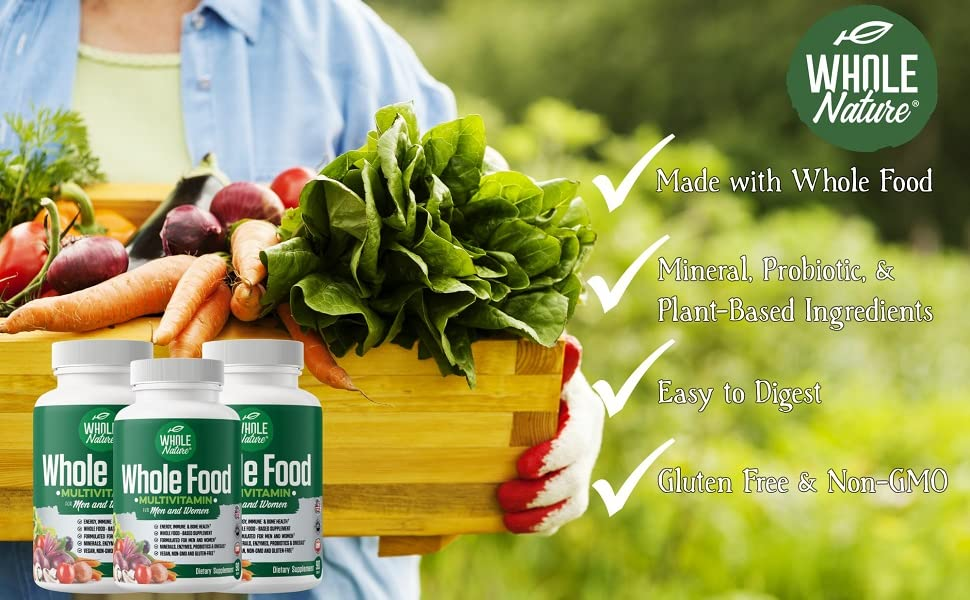 Whole food multivitamin, vegan vitamins, vitamins for women over 60, mens daily multivitamin