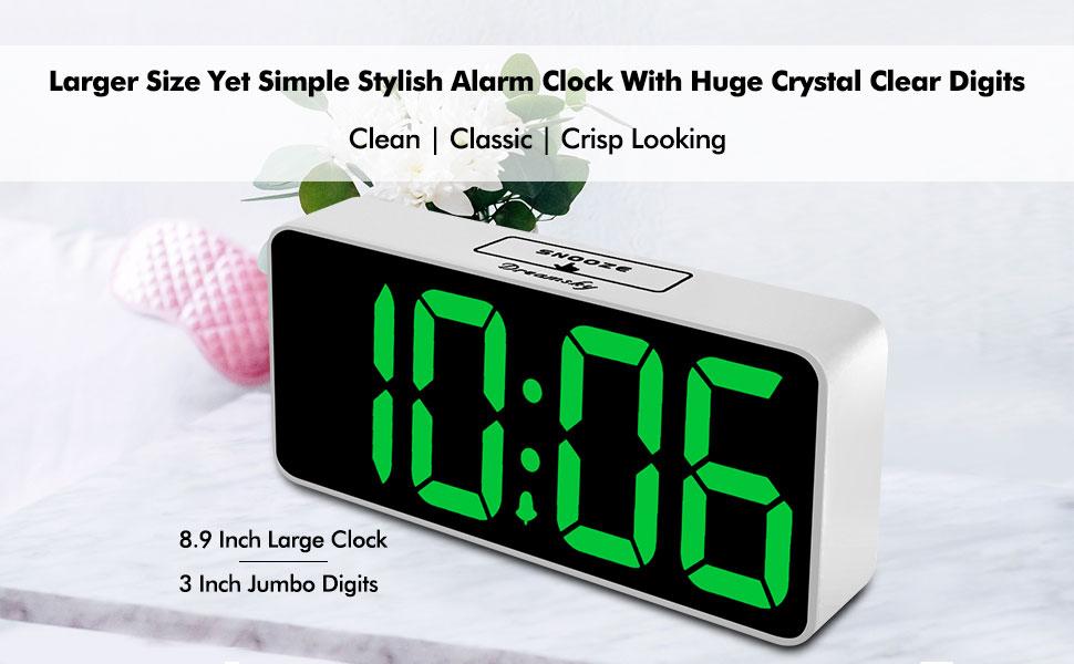 DreamSky 8.9 Inches Large Digital Alarm Clock with USB Charging Port Fully Adju