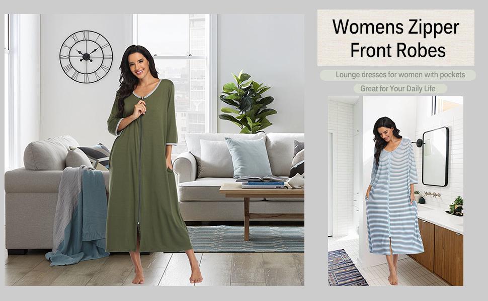 womens zipper front robes