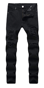 ripped jeans for men black skinny biker holes slim fit hip hop straight tight distressed