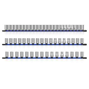 socket organizer holder rail rack tray storage 1/4 3/8 1/2 inch drive olsa tools tool organize