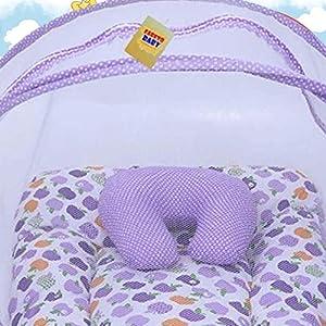 Fareto® Combo of Baby Mattress with Net   Sleeping Bag   4 Pcs Bedding Set(0-6 Months)(PID: Purple Apple)