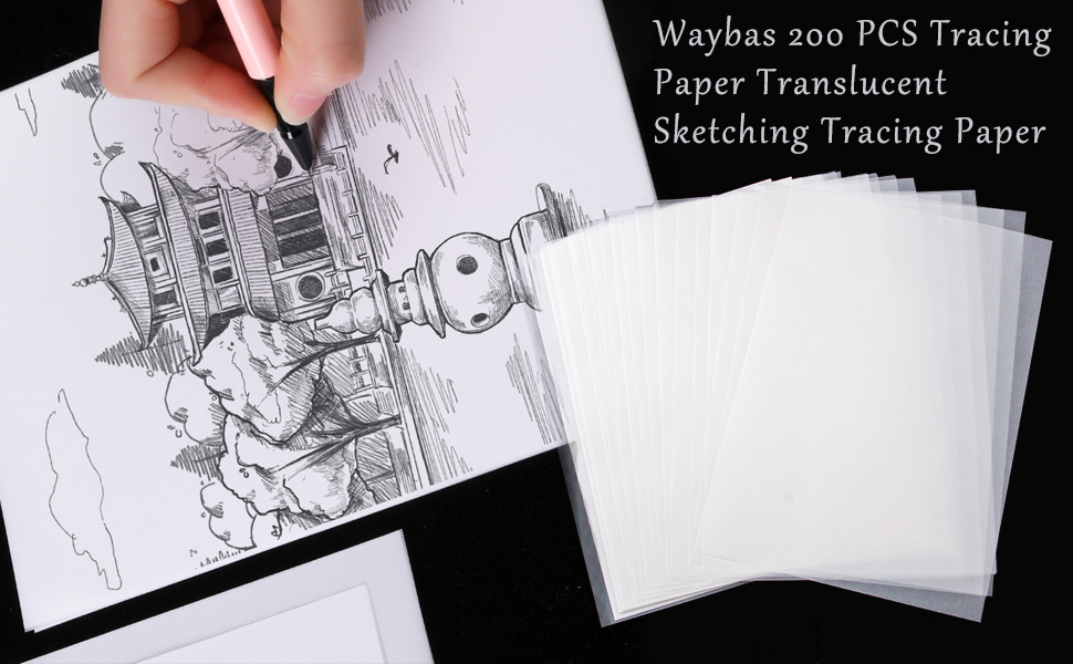 STOBOK 200pcs 16K Tracing Paper White Translucent Sketching Paper Transfer Paper Copying Calligraphy Writing Drawing Paper