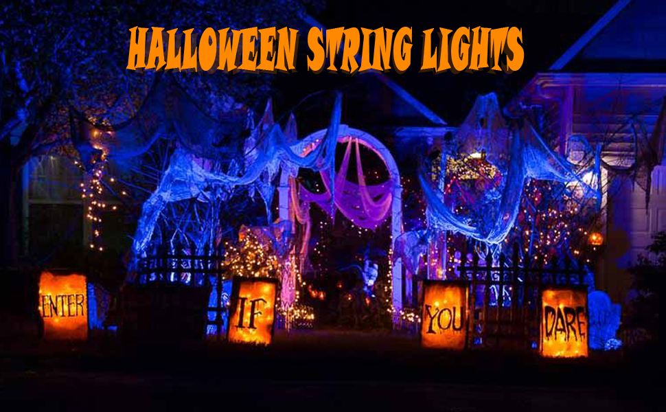 100 LED Orange String Lights Toodour Halloween Orange Lights Battery Operated Orange Fairy Lights for Halloween Decorations