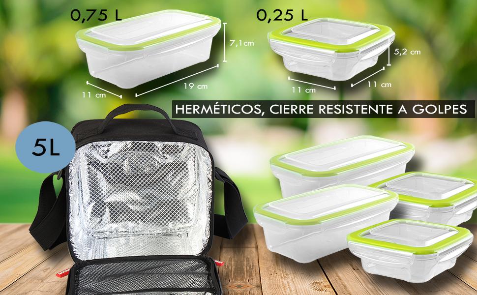 MOZKITA Bolsa termica Porta Alimentos + 4 fiambreras herméticas ...