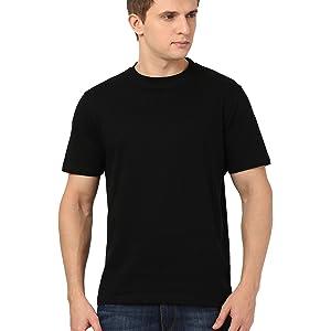 round neck black t-shirt for men 100% cotton bio wash fabric