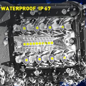 Aaiwa Zusatzscheinwerfer 4 Zoll Dreireihig Arbeitsscheinwerfer 60w 5800 Lumen Ip67 Spot Flood Arbeitslichtleiste Scheinwerfer Universal Für Off Road Fahrlicht Lkw Traktor 4 Stück Auto