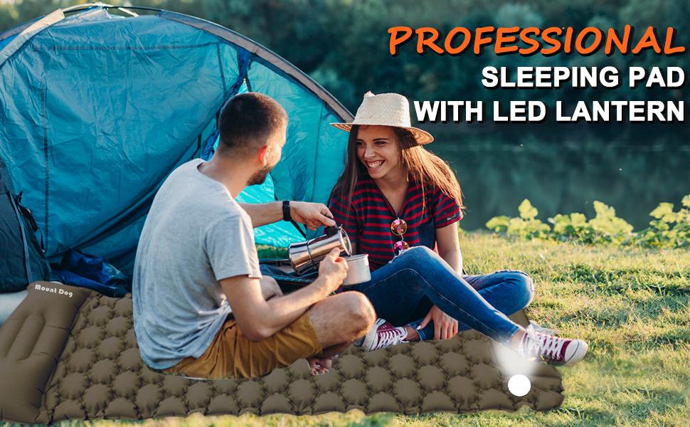 MOUNTDOG Inflatable Sleeping Pad  with Camping Lantern