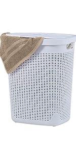 wicker laundry hamper grey