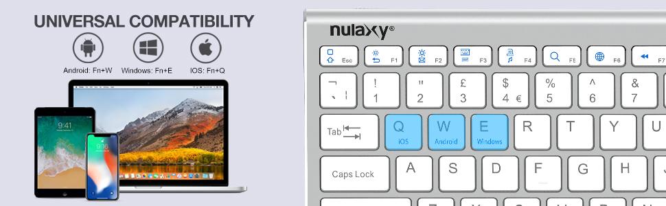 Nulaxy KM13 teclado inalámbrico Bluetooth con soporte deslizante compatible con Apple iPad iPhone, Samsung Android Windows tabletas teléfonos teclado ...