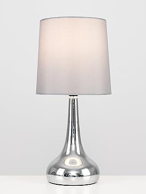 MiniSun – Set de 2 lámparas modernas de mesa táctiles, con forma de gota - cromadas y pantallas de tela color gris [Clase de eficiencia energética A]
