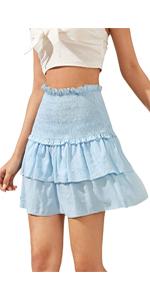 women shirred later mini skirt