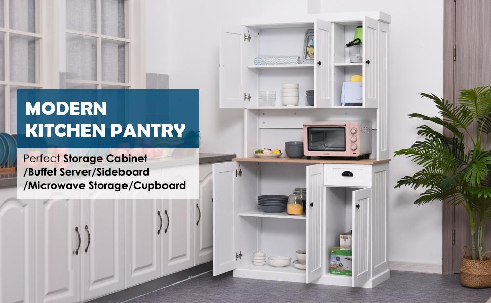 Homcom Unit Cabinet Drawer Storage Pantry Home Display Shelf Smooth Surface Freestanding Kitchen Cabinet White 180x101cm Amazon Co Uk Kitchen Home