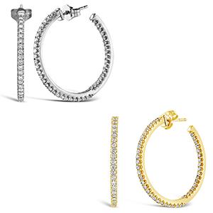 Brilliant Expressions Diamond Hoop Earrings
