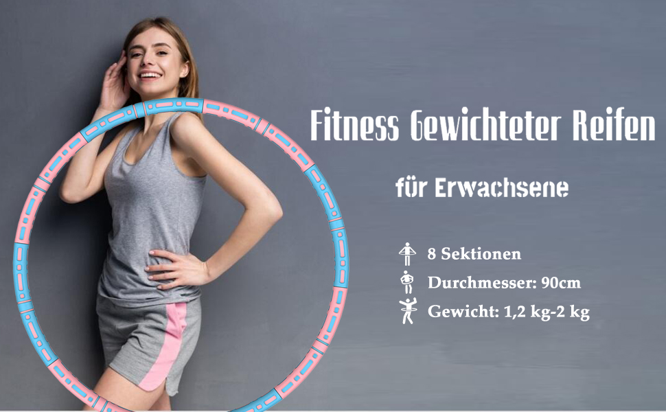 Fitness Erwachsene Hoop,Einstellbar Breit 48–88 cm beschwerter Fitness-Erwachsene-Reifen