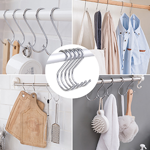 Heavy Duty Stainless Steel S Shaped Hooks for Hanging Apparel Kitchenware Utensils Plants Towels Gardening Tools SumDirect 5Pcs 5 7//10 Inch Extra Large S Hooks