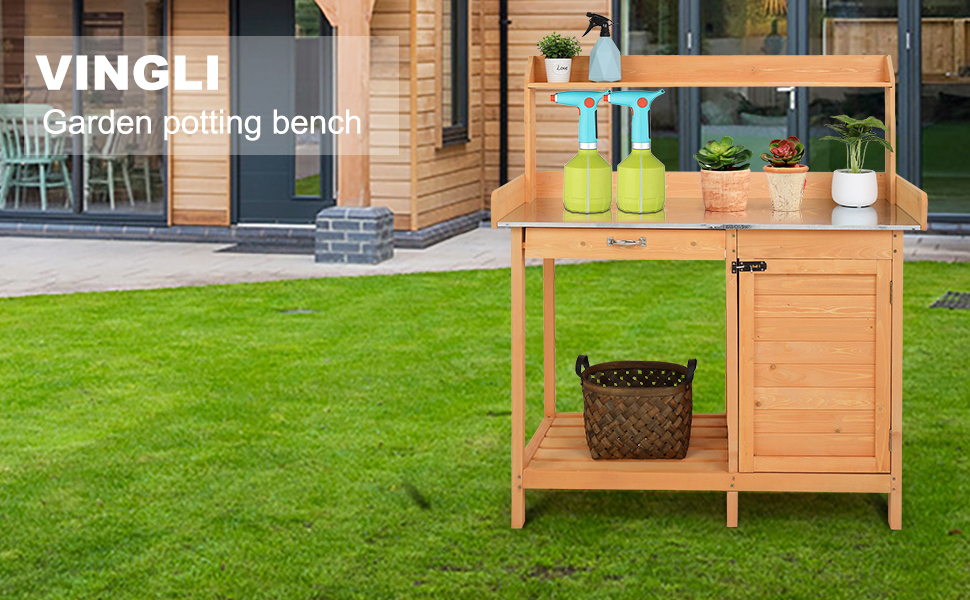 Wooden Potting Bench Tables
