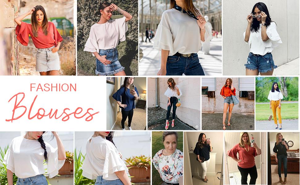 womens crewneck blouse 3/4 bell sleeve loose top shirt