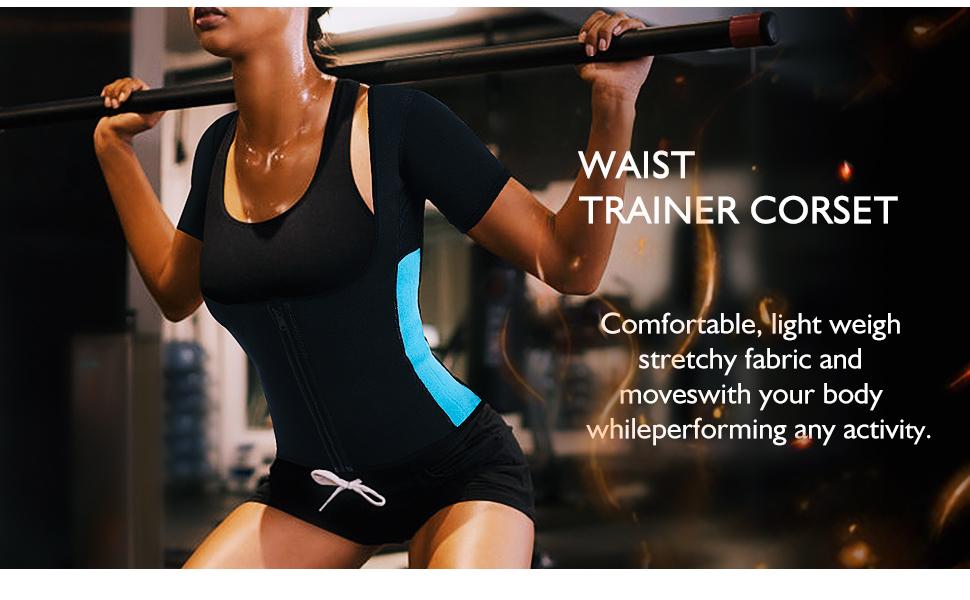 Damen Sauna Effekt Anzug Fitness Taille Trainer Neopren Shirt Top