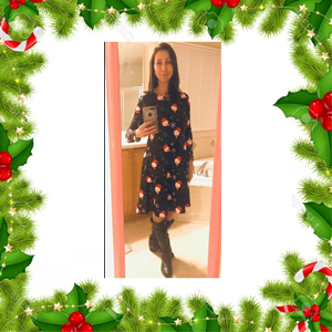 Natsuki Womens 3//4 Sleeve Funny Print Christmas Casual Flared Midi Swing Dress
