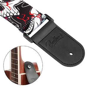 BestSounds ギターストラップ かっこいいデビルスカル柄 ベース、エレキ、アコギ、クラシックギター用ショルダーストラップ (頭蓋骨)
