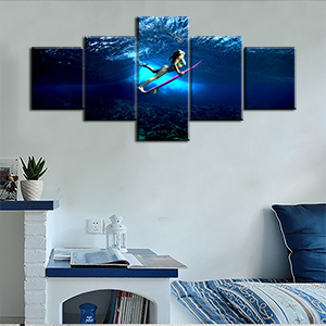 Bedroom for home landscape seaview blue red female sexy long hair decor design water underwater blue
