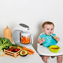 Healthy Homemade Baby Food Maker - Baby Food Maker   Baby Food Processor Blender Grinder Steamer   Cooks & Blends Healthy Homemade Baby Food In Minutes   Self Cleans   Touch Screen Control   6 Reusable Food Pouches