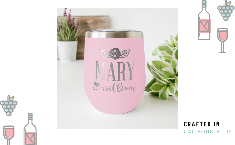 personalized wine tumbler insulated custom customize engraved monogrammed gifts for women girls