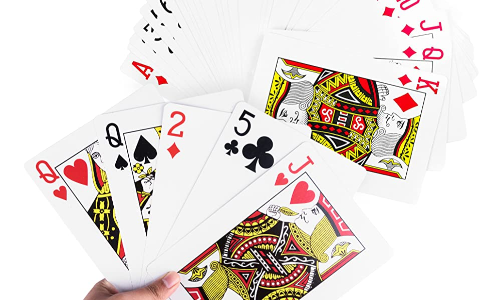 Measures 10 x 14.5 Inches Giant Jumbo Deck of Big Playing Cards Fun Full Poker Game Family Party Set