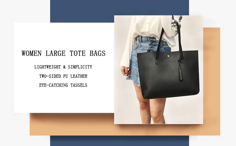 Women's Soft Faux Leather Tote Shoulder Bag Big Capacity Tassel Handbag