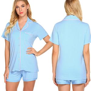 Ekouaer Sleepwear Womens Pajama Set Short Sleeve Pjs Button Down Nightwear Soft Loungewear XS-XXL