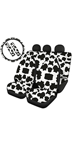Cow Front Rear Seat Covers with Steering Wheel Cover and Seatbelt Pads