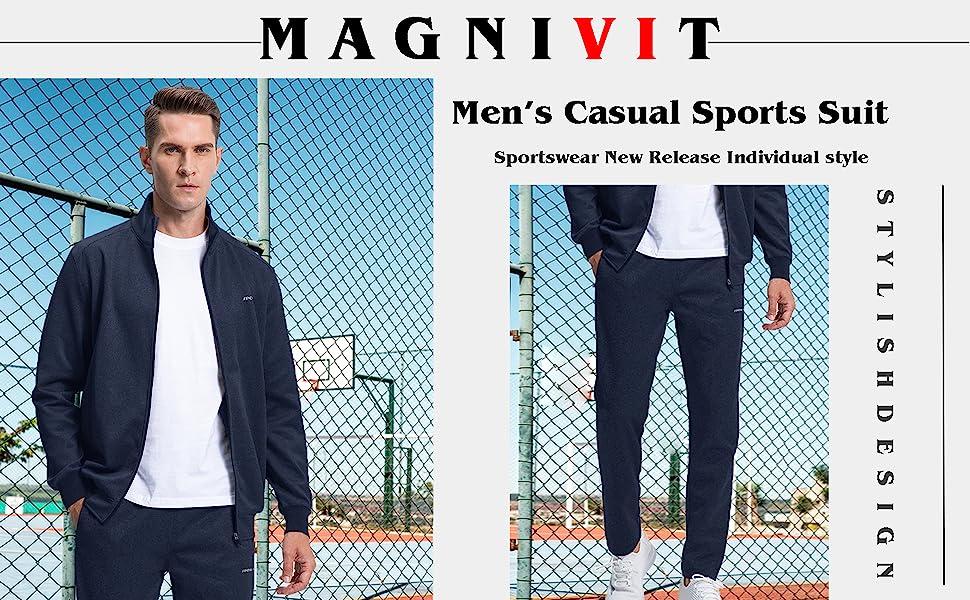 MAGNIVIT Mens Tracksuit 2 Piece Athletic Full Zip Jogging Running Sweatsuit