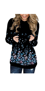 onlypuff Womens Hoodie Sweatshirts Casual Tunic Tops Floral Print Shirts with Pockets