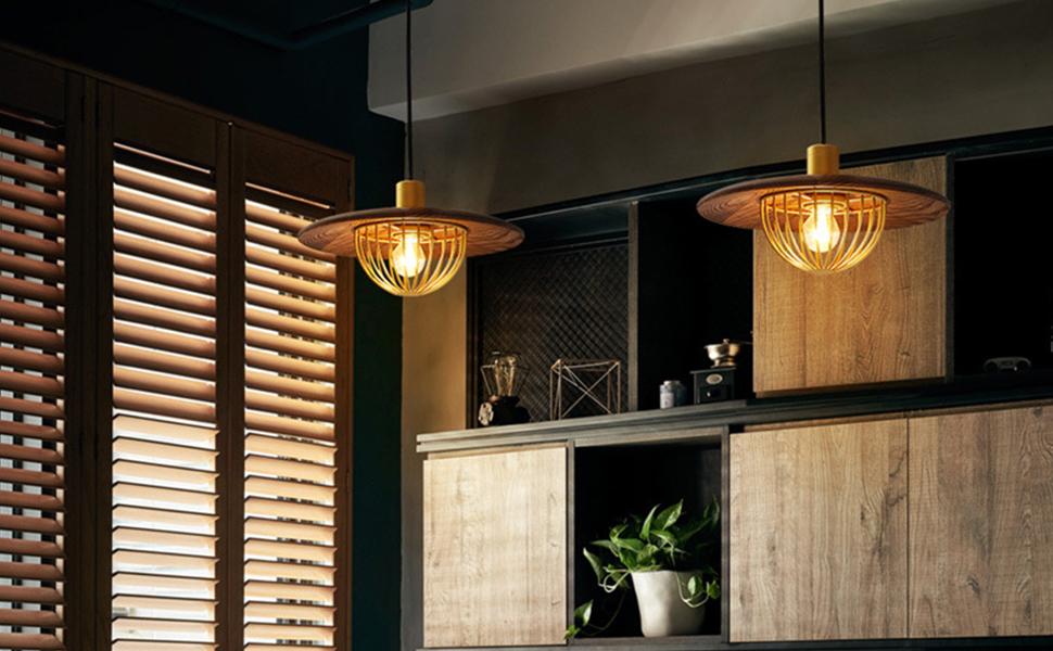 Nurluce Vintage Pendant Lighting for Kitchen Island lights fixtures 40w Retro style