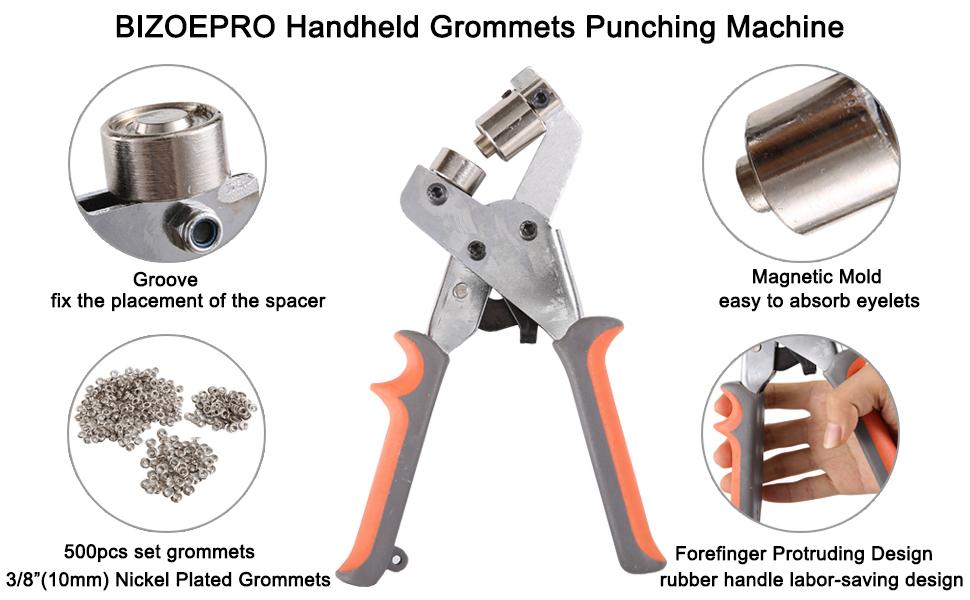 / Black 10mm Eyelet Grommet Tool Heavy Duty Portable Handheld Grommets Eyelet Snap Punching Machine Manual Puncher Press Tool 3//8
