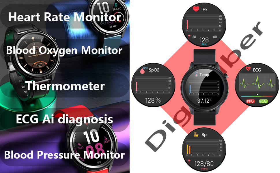 Smartwatch für Herren mit Herzfrequenzmesser