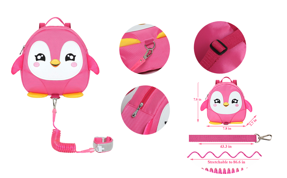 EPLAZA Toddler Leashes Penguin-Like Backpacks with Anti Lost Wrist Link Wristband