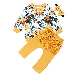 Kantenia 3PCS Baby Girl Clothes Ruffle Floral Shirt Tops Pants Headband Outfit Sets Yellow 5-6Years