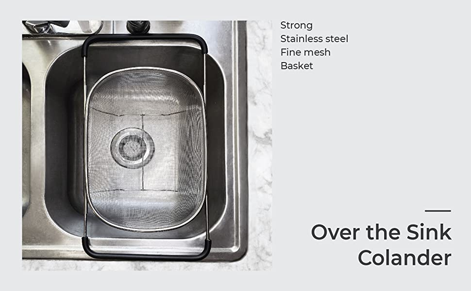 Over the Sink Colander strong stainless steel fine mesh basket