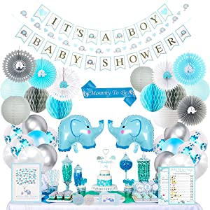 baby shower complete kit boy elephant foil balloon jungle prince confetti gender reveal party supply