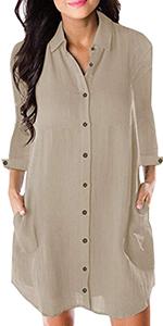cotton linen shirt dress