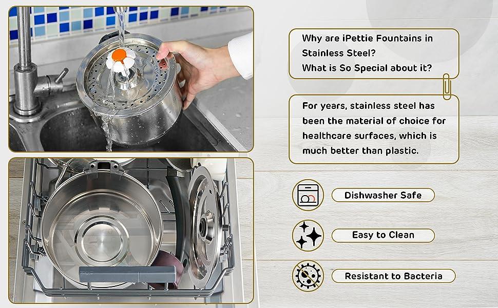 Stainless Steel Pet Fountain metal cat waterer water dish bowl feeder filtered Multiple Multi Pet