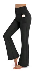 Damen Bootcut Yogahose Mit Taschen Flare Hose Hohe Taille Sporthose
