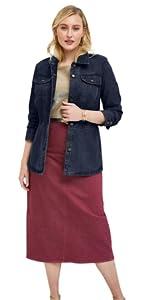 Plus Size Button Front Peplum Denim Jacket