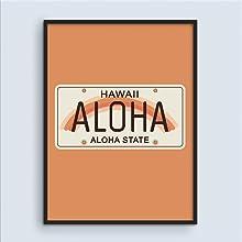 Carteles de viaje vintage Hawaii Surf Decor Peach Decoración de pared Letreros de Aloha