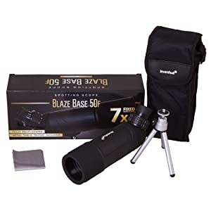 Levenhuk Blaze BASE 50F Spotting Scope: the kit includes a tripod, a case and a cleaning cloth