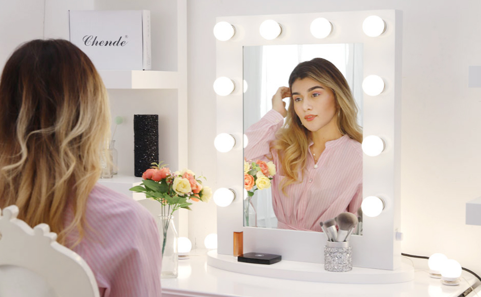 Chende Glossy White Lighted Vanity Mirror With Dimmable Led Bulbs